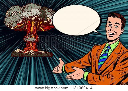 Nuclear explosion lecture on radiation safety pop art retro vector. Retro poster nuclear war