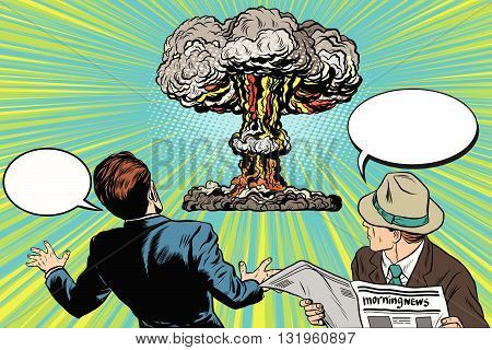 The beginning of a nuclear war pop art retro vector. A nuclear blast. Spectators and victims