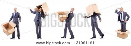 Collage of photos with man and boxes
