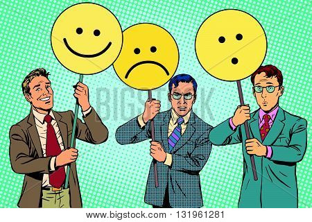 Protesters with placards Emoji joy sadness surprise pop art retro vector. Political protest. Emoji political poster