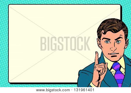 businessman promo poster pop art retro pop art retro vector. Announcement advertising. Promo male