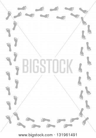 Gray foot prints border - vector illustration.