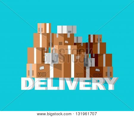 Delivery detailed illustration box. Delivery fast to the door and box. Delivery vector illustration box
