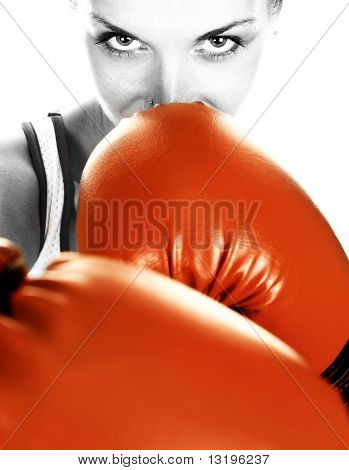 Black&white portrait of a girl with red boxing gloves