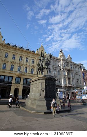 ZAGREB, CROATIA - MAY 26, 2016: Ban Jelacic Square is the central square of the city of Zagreb, Croatia, named after ban Josip Jelacic. The official name is Trg bana Jelacica