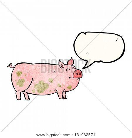 freehand speech bubble textured cartoon muddy pig
