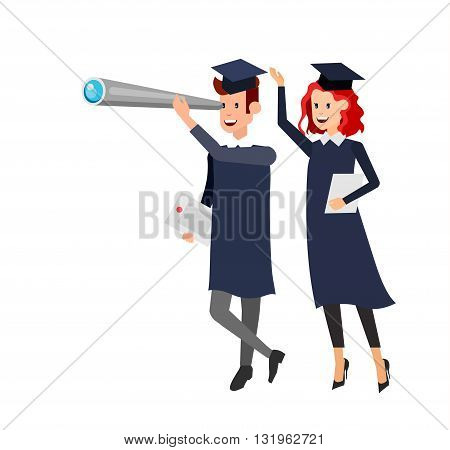 Vector character graduate and students, university students graduation. University courses, online education, exam preparation. University education banner, vector graduate, illustration graduate