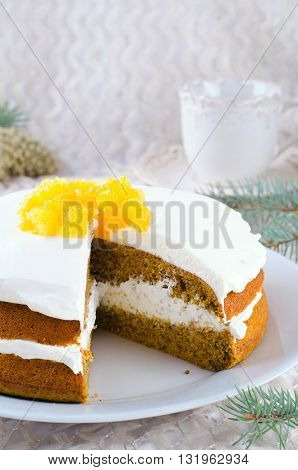 Pumpkin cake with jam, Christmas decoration. Selective focus