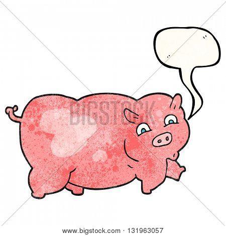 freehand speech bubble textured cartoon pig