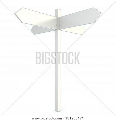 Blank white signpost. 3D render illustration isolated on white background