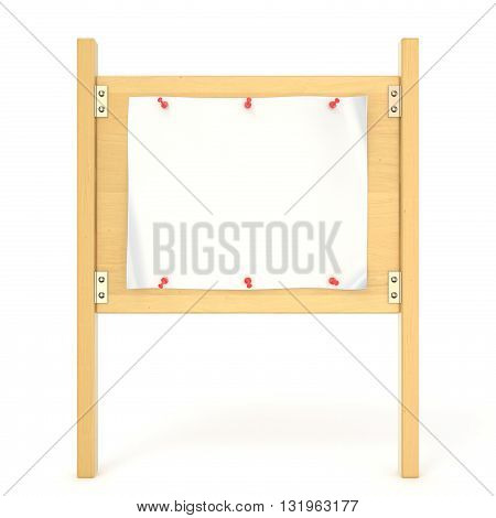 Wooden sign board with blank poster and red thumbtack. 3D render illustration isolated on white background