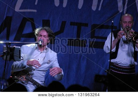 ANKARA/TURKEY-MAY 28, 2016: Goran Bregovic and Wedding&Funeral Band at the stage of Next Level AVM during the 20th International Ankara Jazz Festival. May 28, 2016-Ankara/Turkey