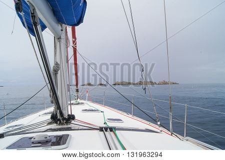 The bow of the yacht.  Regatta