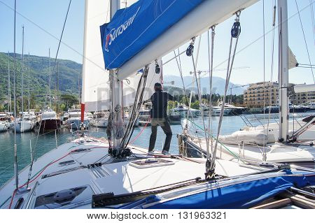 Tivat, Montenegro - 26 April, Man on a yacht, 26 April, 2016. Regatta