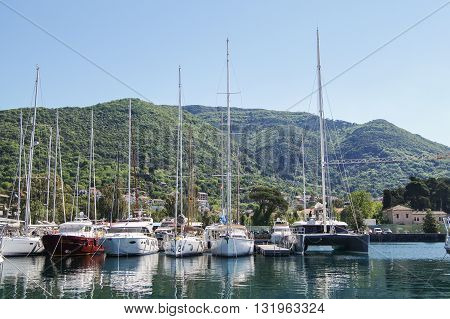 Tivat, Montenegro - 26 April, Yachts at the pier, 26 April, 2016. Regatta