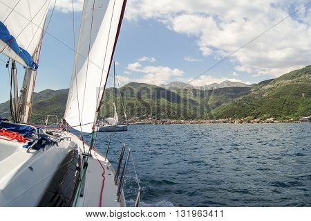Tivat, Montenegro - 26 April, The yacht is going to roll,  26 April, 2016. Regatta