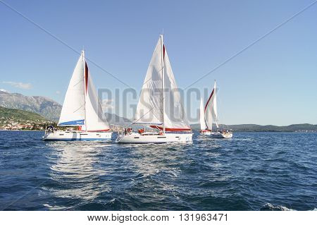 Tivat, Montenegro - 26 April, Regatta in turn places, 26 April, 2016. Regatta