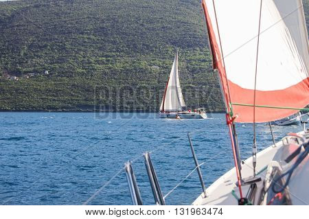 Tivat, Montenegro - 26 April, Yachts makes a turn near buoy, 26 April, 2016. Regatta