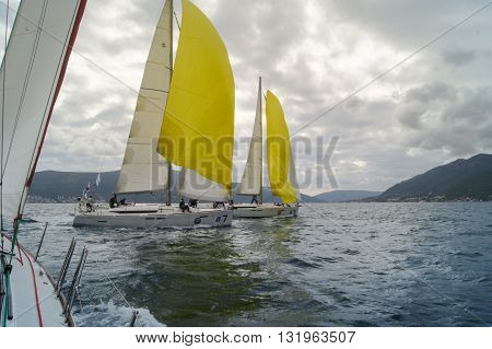 Tivat, Montenegro - 27 April, Two boat under a cloudy sky, 27 April, 2016. Regatta