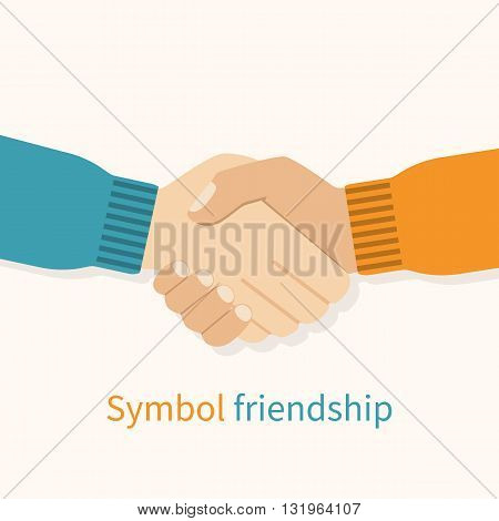 Handshake friends as a symbol of friendship. Vector illustration flat design. Partners shaking hands. Friendly relations. Handshake of men in agreement.