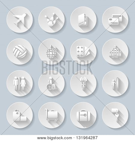 Set of flat paper icons for transportation travelling and leisure