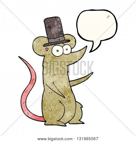 freehand speech bubble textured cartoon mouse wearing top hat