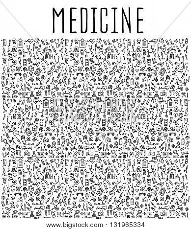Hand drawn Medicine elements, seamless logo Medicine, Medicine doodles elements, Medicine seamless background. Medicine sketchy illustration