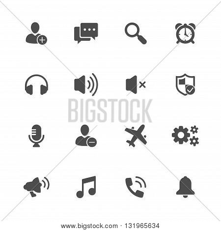 smartphone features flat icon set of 16