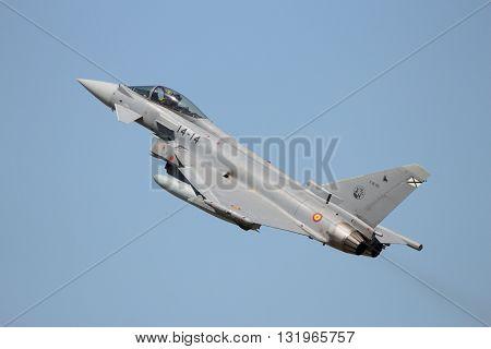 ZARAGOZA SPAIN - MAY 20 2016: Spanish Air Force Eurofighter Typhoon taking off from Zaragoza airbase.
