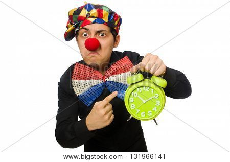Funny clown with clock isolated on white
