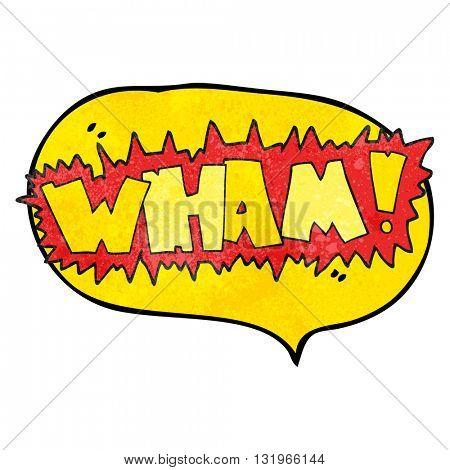 freehand speech bubble textured cartoon wham! symbol