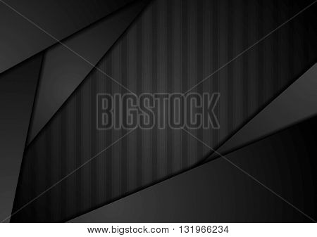 Abstract black technology striped graphic design. Vector template dark background