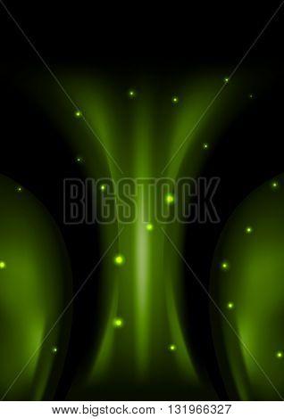 Dark green smooth abstract wavy background. Vector illustration