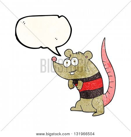 freehand speech bubble textured cartoon rat