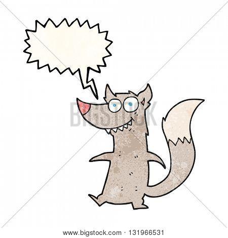 freehand speech bubble textured cartoon little wolf