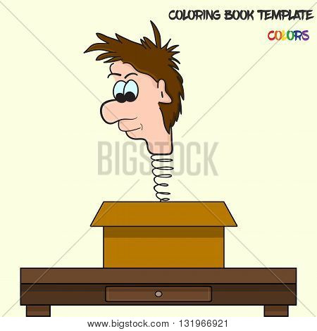 Vector coloring book template in colors. Man's head on a spring jumping from box. Original and funny illustration man's head on a spring. Box lies on the table. Coloring book template for various use.
