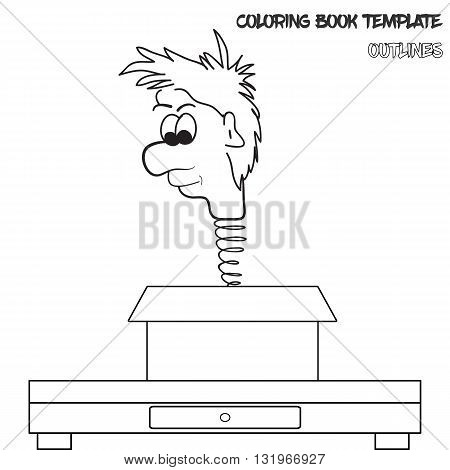 Vector coloring book template in outlines. Man's head on a spring jumping from box. Original and funny illustration man's head on a spring. Box is on the table. Coloring book template for various use.