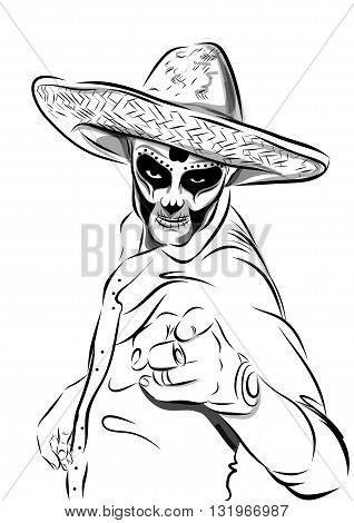Day of the dead sugar skull man vector. Mexican skull. Day of the dead skull. Dia de los muertos skull illustration. vector illustration.
