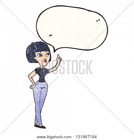 freehand speech bubble textured cartoon woman asking question