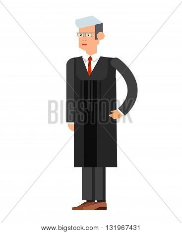 Law Vector detailed character the judge. Law cool flat  illustration judge, judge vector. Illustration judge isolated on white background. Character  judge