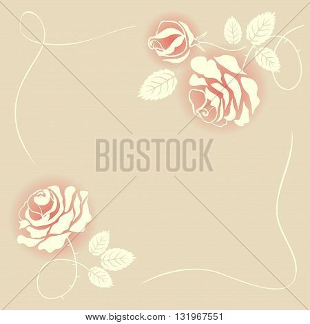 Delicate beige card with roses. Vector illustration for valentines day, mothers day, wedding invitation