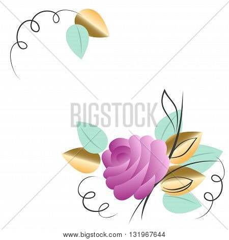 Hand drawn floral ornament with pink rose isolated on white background. Vector illustration for valentines day, mothers day, wedding invitation
