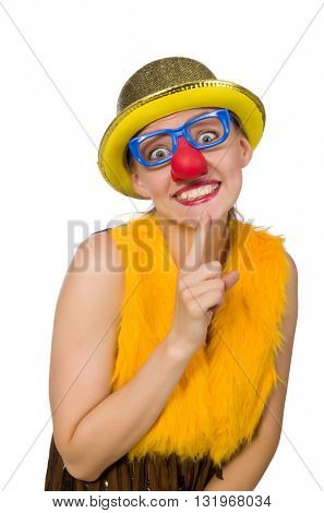 Funny clown woman isolated on the white