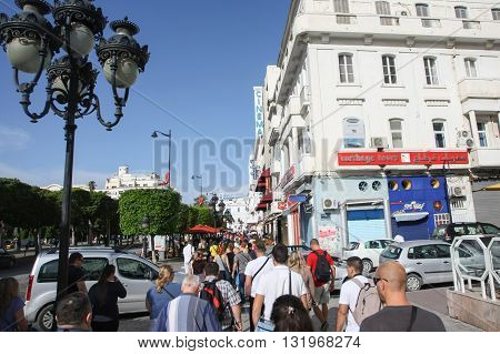 People Walking In City Of Tunis