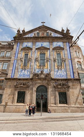 PORTO PORTUGAL - MAY 26 2016: Saint Anthony Church Congregados (circa 17th c.) in the historical center of Porto Portugal. World Heritage Site of UNESCO