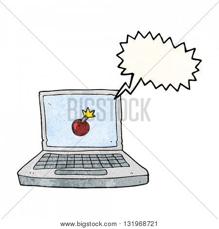 freehand speech bubble textured cartoon laptop computer with bomb symbol