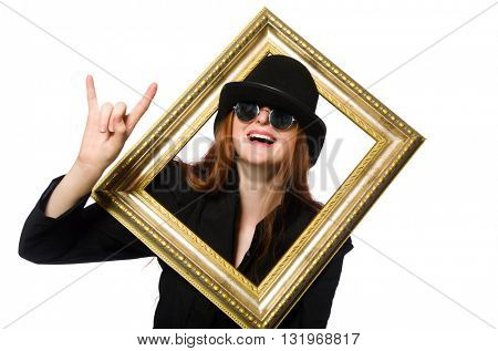 Woman with picture frame isolated on white