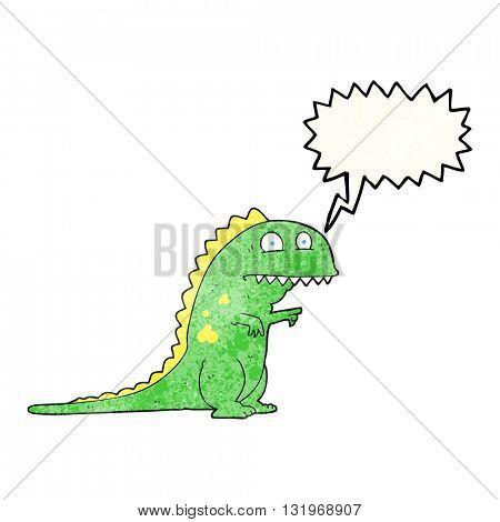 freehand speech bubble textured cartoon dinosaur
