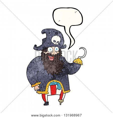 freehand speech bubble textured cartoon pirate captain