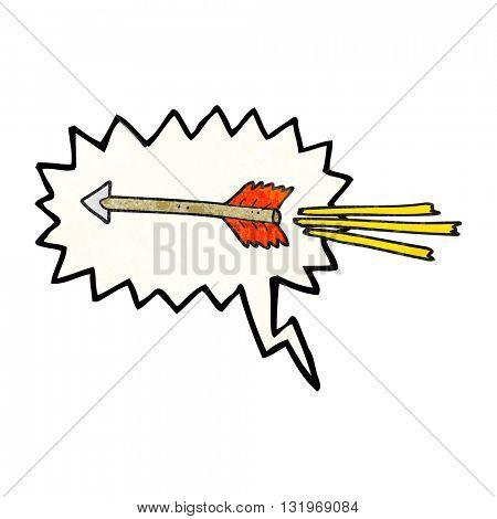 freehand speech bubble textured cartoon flying arrow